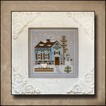 Country Cottage Needleworks - Frosty Forest - Part 7 - Snowgirl's Cottage-Country Cottage Needleworks, Frosty Forest, Part 7 of 9, Snowgirls Cottage, winter, snowman, house, pine trees, Cross Stitch Pattern