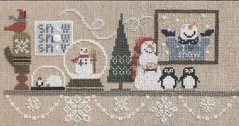 Bent Creek - Wintery Snowglobe Mantle - Part 2 of 3 Penguin Penguin Penguin - Cross Stitch Kit-Bent Creek - Wintery Snowglobe Mantle -Part 2 of 3 Penguin Penguin Penguin - Cross Stitch Kit
