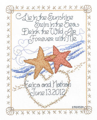 Imaginating - Starfish Wedding-Imaginating - Starfish Wedding, ocean, fish, beach, marriage, love - Cross Stitch Pattern