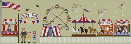 Twin Peak Primitives - State Fair of the Independence Day-Twin Peak Primitives - State Fair of the Independence Day, 4th of July, carnival, picnic, family, USA, patriotic, cross stitch
