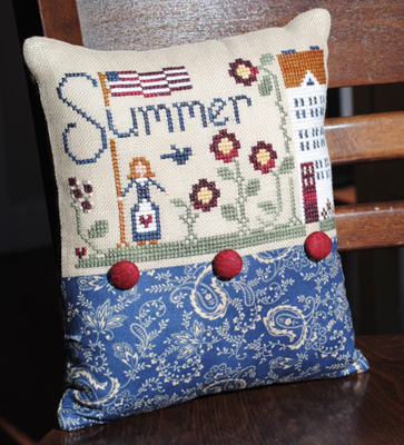 Little House Needleworks - Summer Stitching Thread Pack-Little House Needleworks, Summer Stitching Thread Pack,Perle 5, summer reading, books, flowers, american flag, library, free charts, classic colorworks threads,
