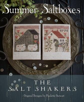 Plum Street Samplers - Summer Saltboxes - The Salt Shakers-Plum Street Samplers - Summer Saltboxes - The Salt Shakers, sheep, horses, American Flag, USA, primitive,
