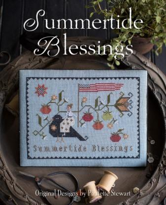 Plum Street Samplers - Summertide Blessings-Plum Street Samplers - Summertide Blessings, flowers, lady,  tomatoes, bird, cross stitch