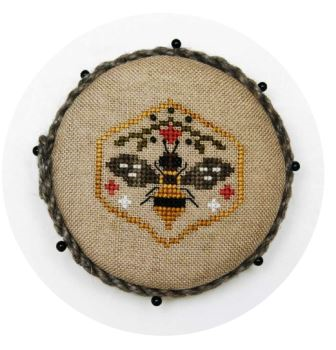 Heart in Hand Needleart - Pocket Round Bee-Heart in Hand Needleart - Pocket Round Bee, honey, beehive, flowers, cross stitch