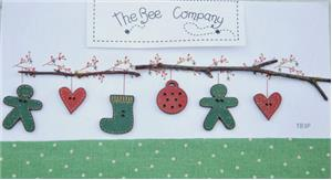 The Bee Company - Christmas Garland Buttons - Green-The Bee Company - Christmas Garland Buttons - Green, Christmas decorations, Christmas gifts, gingerbread man, heart, stocking, cross stitch, accessories