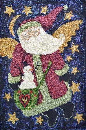 Teresa Kogut - Santa Angel - Punch Needle-Teresa Kogut - Santa Angel - Punch Needle, Christmas, Santa Claus, snowman, stars,