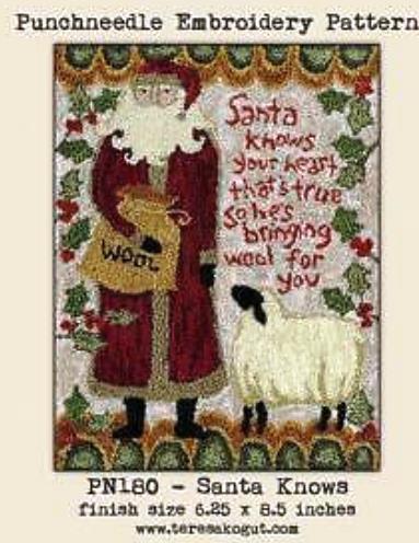 Teresa Kogut - Santa Knows - Punchneedle-Teresa Kogut - Santa Knows - Punchneedle, Santa Claus, sheep, Christmas, wool, gifts, ivy,