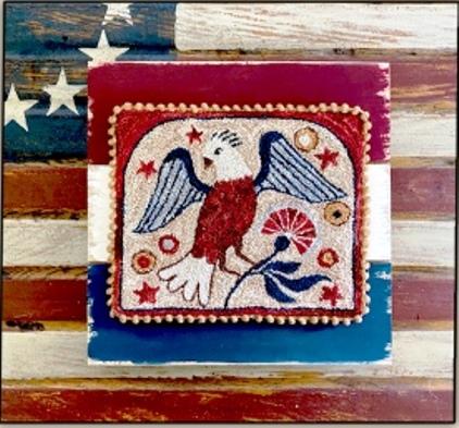 Teresa Kogut Punchneedle - Folkart Eagle-Teresa Kogut Punchneedle - Folkart Eagle, USA, patriotic, eagle, red, white, blue,