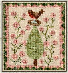Teresa Kogut - Springtime Robin-Teresa Kogut - Springtime Robin, birds, Robin, sunny, trees, cross stitch