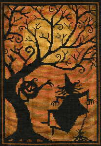 Teresa Kogut - Moondance-Teresa Kogut - Moondance, Halloween, witch, pumpkin, fall, moon, dancing, cross stitch