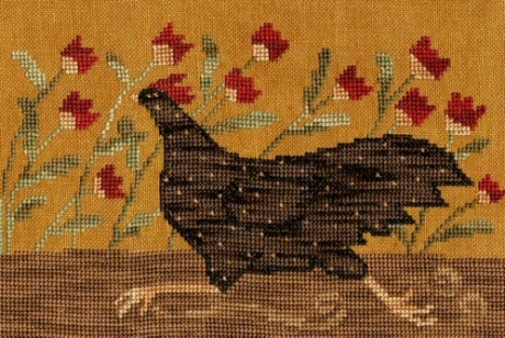 Teresa Kogut - Chicken Run-Teresa Kogut - Chicken Run, flowers, running, chick, farm, cross stitch