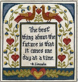 Teresa Kogut - One Day at a Time-Teresa Kogut - One Day at a Time, Abe Lincoln, future, birds, primitive, folk art, cross stitch