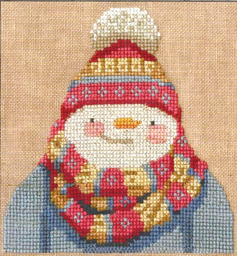 Teresa Kogut - Stylin' Snowman-Teresa Kogut - Stylin Snowman, bundled up, scarf, snow, winter, cross stitch