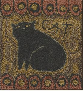 Teresa Kogut - Cat - Punchneedle-Teresa Kogut - Cat - Punchneedle, primitive, cat, black cat, fat cat,