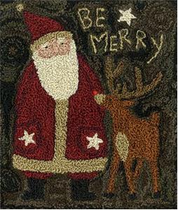 Teresa Kogut - Be Merry - Punchneedle-Teresa Kogut - Be Merry, Santa Claus, Rudolf, punchneedle,