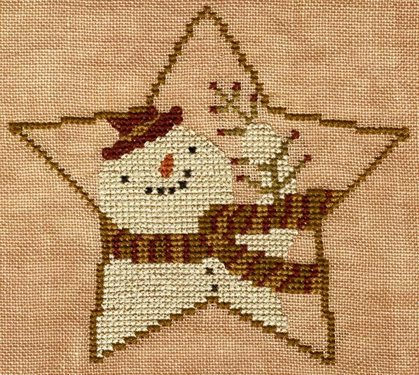 Teresa Kogut - Star-Shaped Snowman-Teresa Kogut - Star-Shaped Snowman, ornament, snowman, Christmas decoration, star, cross stitch