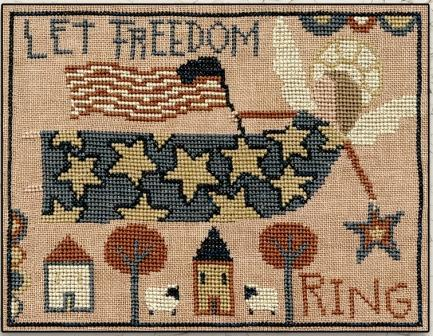 Teresa Kogut - Let Freedom Ring-Teresa Kogut - Let Freedom Ring, angels, USA, American, houses, cross stitch, primitive, country folk,