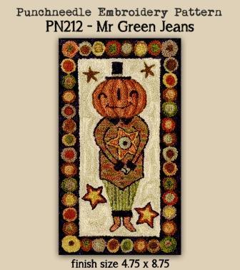 Teresa Kogut - Mr Green Jeans - Punchneedle-Teresa Kogut - Mr Green Jeans - Punchneedle, pumpkin, Halloween, fall, autumn,
