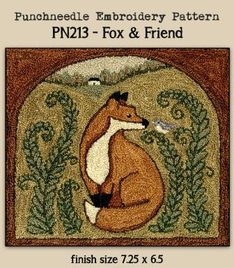 Teresa Kogut - Fox & Friend - Punchneedle-Teresa Kogut - Fox  Friend - Punchneedle, woodland, animals, trees,