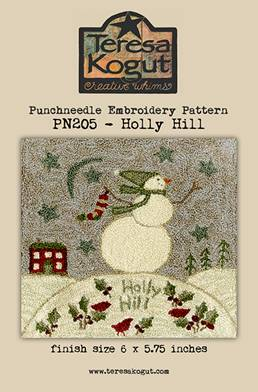 Teresa Kogut - Holly Hill - Punchneedle-Teresa Kogut - Holly Hill - Punchneedle, snowman, ivy, snow, winter