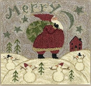 Teresa Kogut - Merry Hill - Punchneedle-Teresa Kogut - Merry Hill - Punchneedle, Santa Claus, snowman, winter, snow,