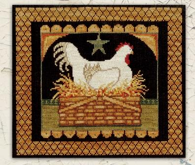 Teresa Kogut - Prim Hen in Basket-Teresa Kogut - Prim Hen in Basket, farm, eggs, chickens, cross stitch