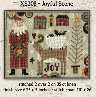 Teresa Kogut - Joyful Scene-Teresa Kogut - Joyful Scene, Christmas, reindeer, sheep, rooster, Santa Claus, cross stitch