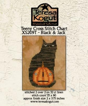 Teresa Kogut - Black & Jack-Teresa Kogut - Black  Jack,black cat, pumpkin, Halloween, fall, Autumn, pumpkin pie, cross stitch