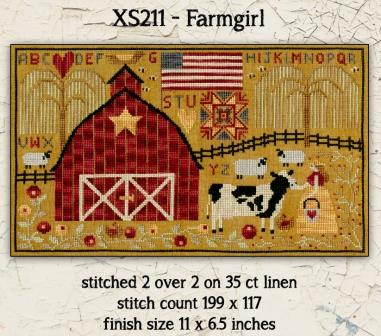 Teresa Kogut - Farmgirl-Teresa Kogut - Farmgirl, animals, farm, barn quilt, cross stitch, American Flag, sampler, cow,
