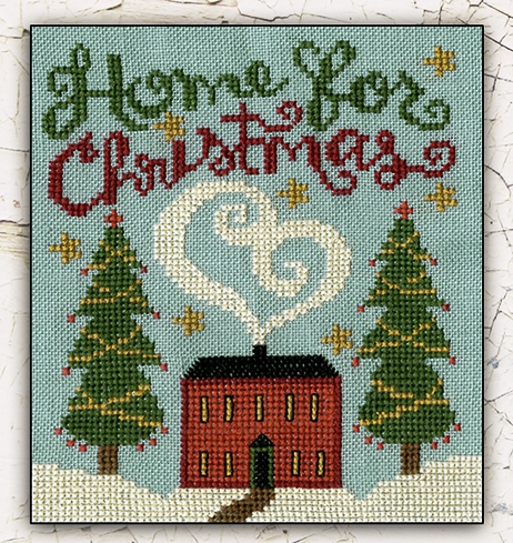 Teresa Kogut - Home for Christmas-Teresa Kogut - Home for Christmas, home, family, welcome, snow, fireplace, Christmas tree, heart, cross stitch