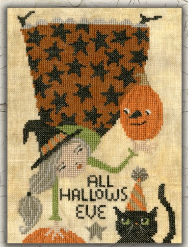 Teresa Kogut - Whimsy Halloween-Teresa Kogut - Whimsy Halloween, witch, pumpkin, black cat, cross stitch