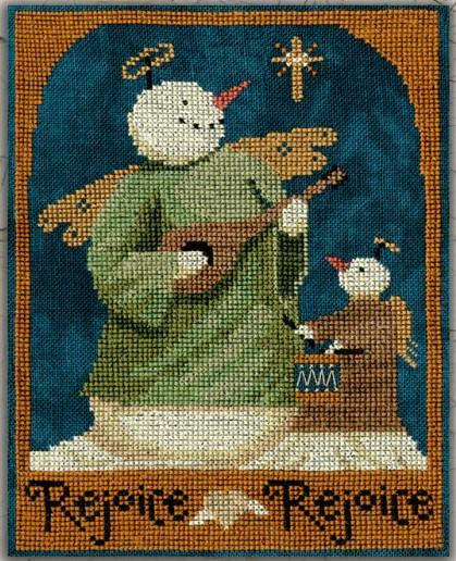 Teresa Kogut - Rejoice Rejoice Snowmen-Teresa Kogut - Rejoice Rejoice Snowmen, praise, joyous, worship, Jesus, snow, angels, cross stitch