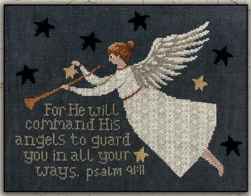 Teresa Kogut - Psalm 91.11-Teresa Kogut - Psalm 91.11, Bible verse, Old Testament, God, commandments, angel, cross stitch