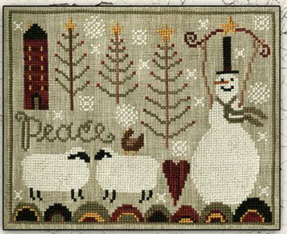 Teresa Kogut - Peaceful Snow-Teresa Kogut - Peaceful Snow, snowman, sheep, hearts, primitive, snow, trees, cross stitch, penny rug,