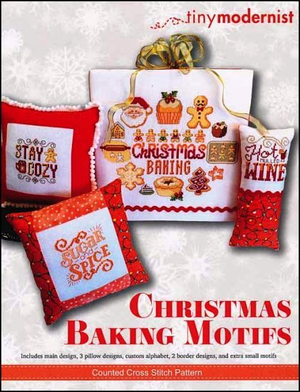 Tiny Modernist - Christmas Baking Motifs-Tiny Modernist - Christmas Baking Motifs, KITCHEN, gingerbread man, cookies, Santa Claus, cross stitch