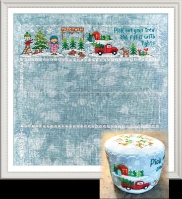 Tiny Modernist - Christmas Village Series - Tree Farm-Tiny Modernist - Christmas Village Series - Tree Farm, red truck, Christmas trees, Christmas, pin cushions, cross stitch