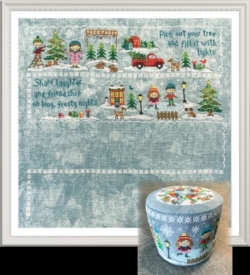 Tiny Modernist - Christmas Village Series - Part 2 Frosty Nights-Tiny Modernist - Christmas Village Series - Part 2 - Frosty Nights, Christmas, snow, pin cushion, cross stitch