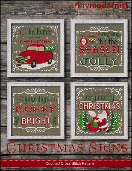 Tiny Modernist - Christmas Signs-Tiny Modernist - Christmas Signs, red truck, Christmas tree, Santa Claus, season, ornaments, cross stitch