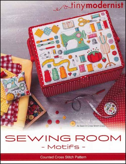 Tiny Modernist - Sewing Room Motifs-Tiny Modernist - Sewing Room Motifs, sewing basket, sewing machine, floss, threads, scissors, pins cushion, pins, safety pins,