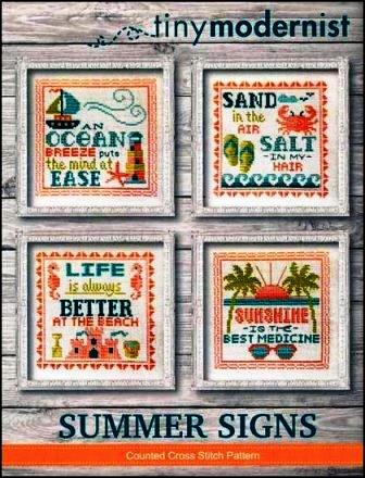 Tiny Modernist - Summer Signs-Tiny Modernist - Summer Signs - Summer, beach, ocean, sailboat, sand, sunshine, waves, cross stitch