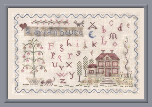 The Pink Needle - A Dream House-The Pink Needle - A Dream House, home, family, trees, sampler, cross stitch