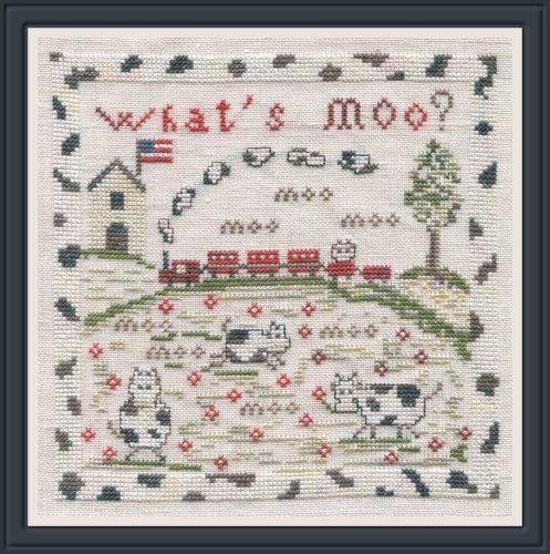 The Pink Needle - What's Moo?-The Pink Needle - Whats Moo. farm, train, cows, sheep, farmland, american flag, cross stitch