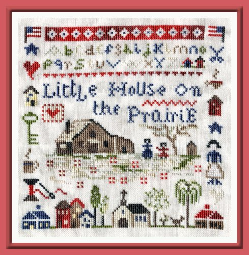 The Pink Needle - Little House on the Prairie-The Pink Needle - Little House on the Prairie, Laura Ingalls Wilder, country, primitive, farm, family, animals, cross stitch