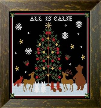 Twin Peak Primitives - All is Calm-Twin Peak Primitives - All is Calm, Christmas, Christmas Tree, woodland animals, snow, Jesus, cross stitch