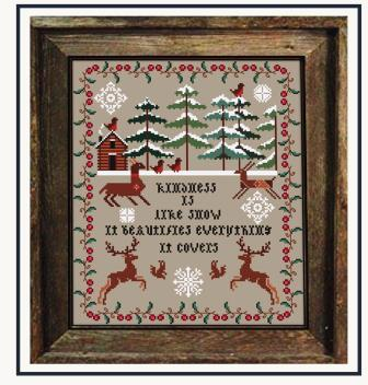 Twin Peak Primitives - Black Forest-Twin Peak Primitives - Black Forest, winter, house, snow, reindeer, cross stitch