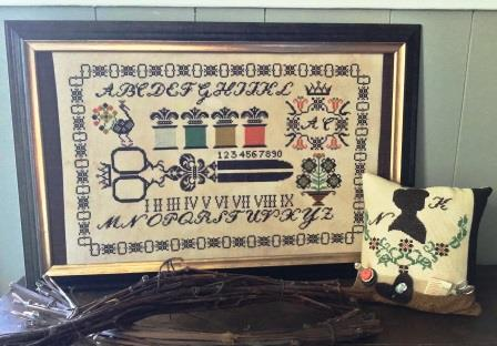 Twin Peak Primitives - Stitch Tool Box Sampler-Twin Peak Primitives - Stitch Tool Box Sampler, sampler, cross stitch, scissors, thread, needles, patterns,