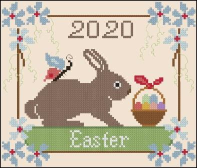 Twin Peak Primitives - Easter 2020-Twin Peak Primitives - Easter 2020, bunny, spring, flowers, Easter Eggs, cross stitch
