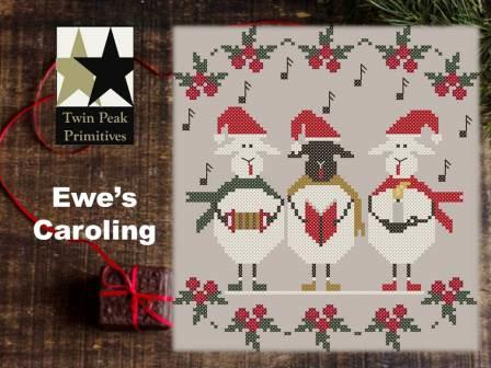 Twin Peak Primitives - Ewe's Caroling-Twin Peak Primitives - Ewes Caroling, Christmas carols, sheep, black sheep, singing, songs, cross stitch