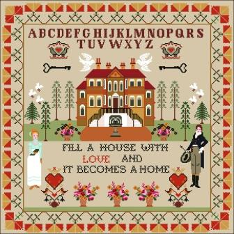 Twin Peak Primitives - Love Makes Sampler-Twin Peak Primitives - Love Makes Sampler, home, husband  wife, love, marriage, Valentines day, cross stitch