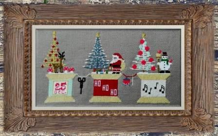 Twin Peak Primitives - Stitching Christmas-Twin Peak Primitives - Stitching Christmas, Santa Claus, snowman, spools, Christmas tree, sewing, cross stitch